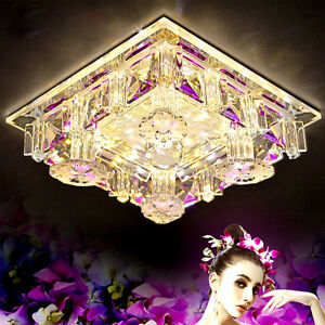 Neuf-18cm-12W-LED-Cristal-Lumieres-Plafond-Allee-Clair-Chandeliers-Fixiture-9039