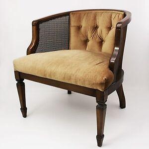 Vtg Wood Barrel Back Wicker Cane Velvet Club Arm Chair ...