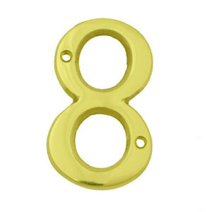 Bolton tools 3 inch bright brass 8 house number home for Bright houses number