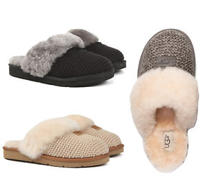 UGG Women s Shoes Cozy Knit Slippers Sandals Shoes Black Cream ... 819f6e684