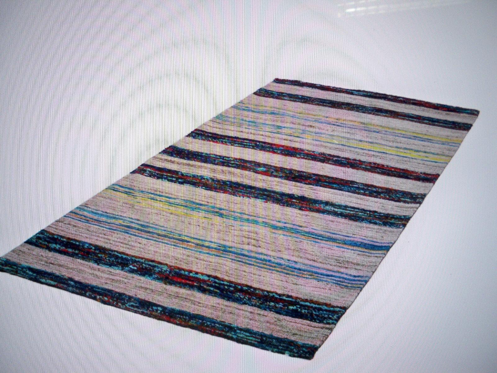 Handgewebter Handgewebter Handgewebter Wollteppich - EVI 200 Blau Multi 80 x 150 cm Kayoom cfc865