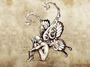 PAINTING-DRAWING-TATTOO-SKETCH-BUTTERFLY-FAIRY-GRUNGE-ART-PRINT-POSTER-MP3854A