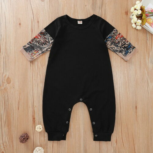 Newborn Baby Boys Fake Tattoo Sleeve Romper Cotton Infant Jumpsuit Outfits 0-24M