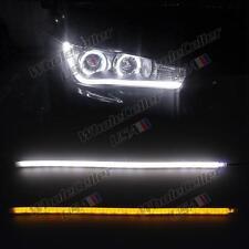 2X 12V 45cm Amber Tube Switchback Headlight LED White Strip DRL For Audi Style