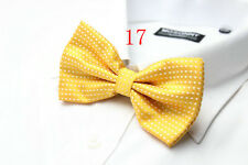 MENS Luxury 2 Layer GOLDEN YELLOW & WHITE Polka Dot Dickie Bow Tie Adjustable