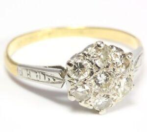 18kt-750-Artdeco-Diamantring-Goldring-Platinring-Damen-Diamant-Gold-Ring