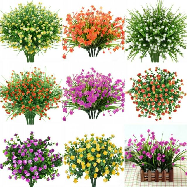 4pcs Artificial Flowers Fake Plant Outdoor Faux Floral Greenery Shrubs Rose Deco For Sale Online Ebay