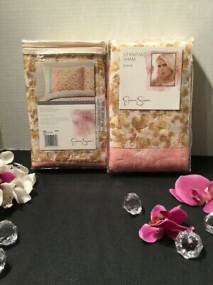 NEW Jessica Simpson 2 PC Set Bonita pattern standard sham Beige Pink Blue