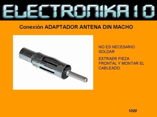 Adaptador Conexion Antena Din Macho reemplazar cable antena coche car audio