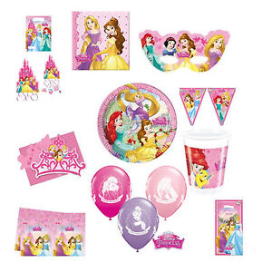 Disney-Princesa-De-Fiesta-Vajilla-Cumpleanos-Suministros-Chicas-Placas-Decoraciones