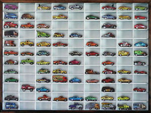 Matchbox Hot Wheels Wall Display Case 1 64 108 Cars White W Walnut Frame Ebay