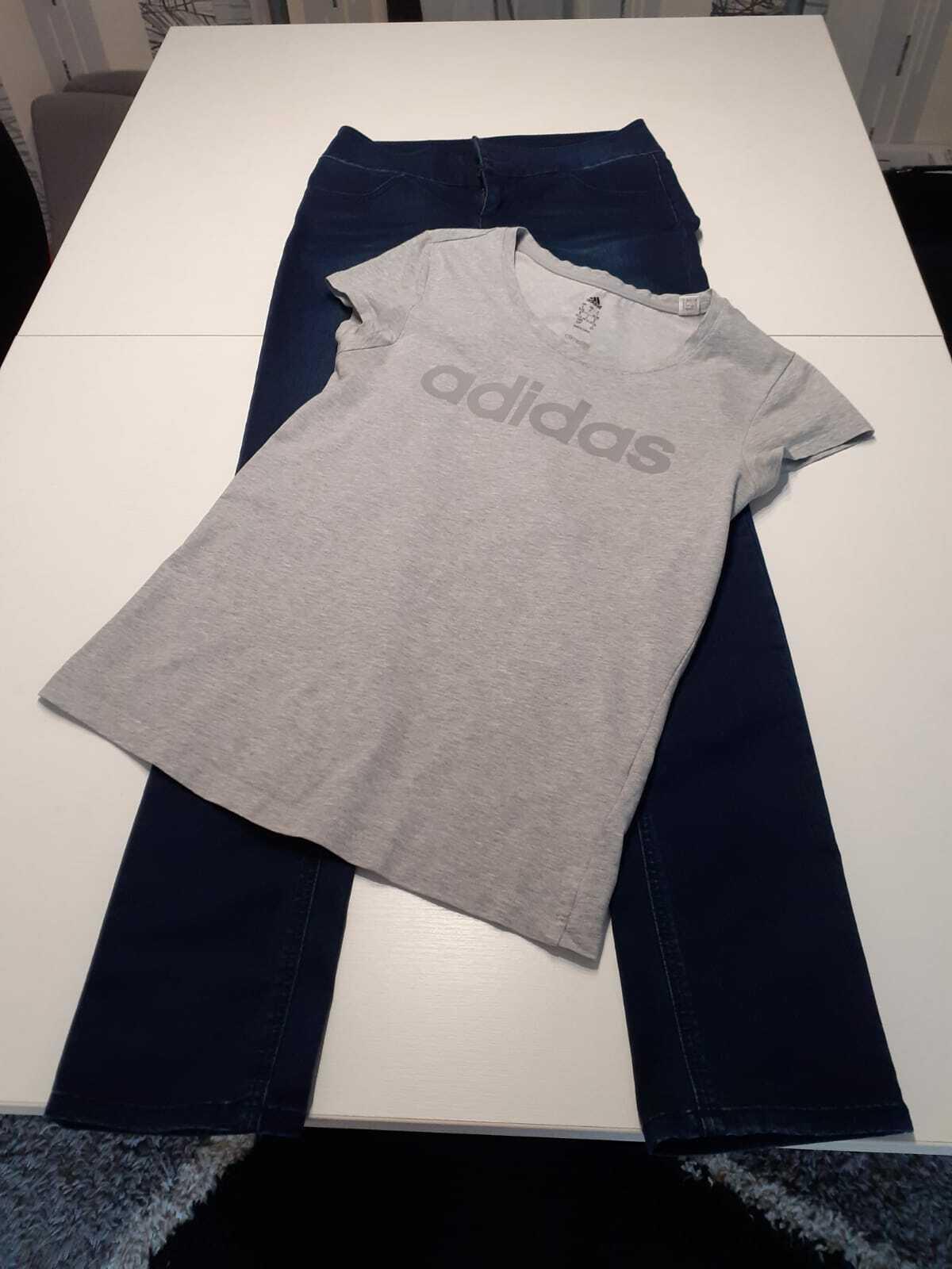 *** Damen Kleidung Set 2-teilig Jeans Gr. 36 und Adidas T-Shirt Gr. 34-36