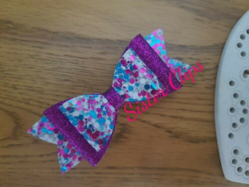 """Filles Handmade Violet /& Blue Silver Mix Glitter 4/"""" Barrette À Cheveux Nœud Pour"""