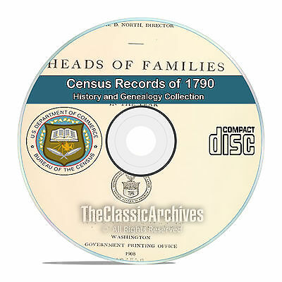 1790 Census Records, 1st ever US Census, 12 out of print volumes on DVD CD V80