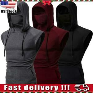 Men Sleeveless Hoodies Sweatshirt Vest Fitness Gym Sports Hooded Coat Tank Tops