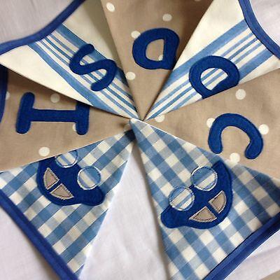 Ragazzi Personalizzati Nome Bunting / Banner Blu E Beige Talpa Macchie Strisce- Fissare I Prezzi In Base Alla Qualità Dei Prodotti