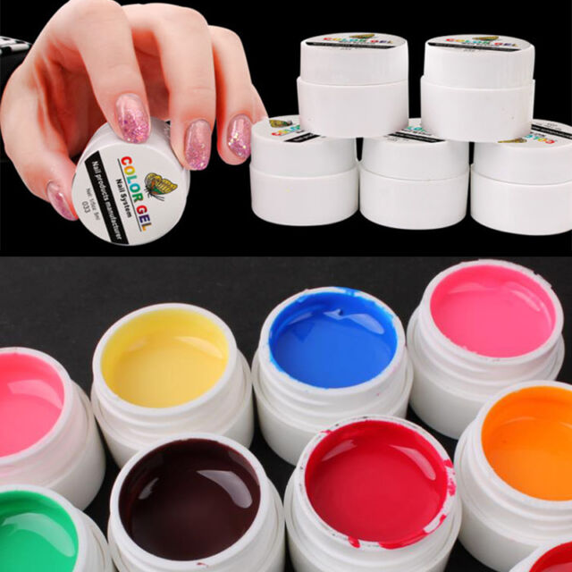 12Pcs Pure Color Mix Nail Art UV Builder Gel Set for Acrylic False Tips DIY