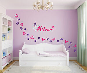 wandtattoo 29 blumen schmetterlinge wunschnamen kinderzimmer 2 farbig ebay. Black Bedroom Furniture Sets. Home Design Ideas