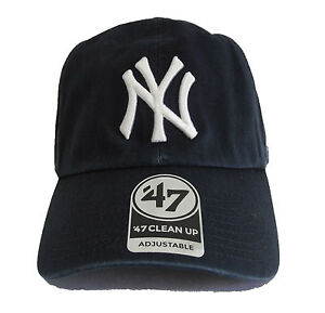 47 Brand New York Yankees Black Basic Logo Clean Up Adjustable Navy ... f440201be00