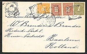 Netherlands Indies covers 1901 3 colour franked PPC Makasser to Haarlem