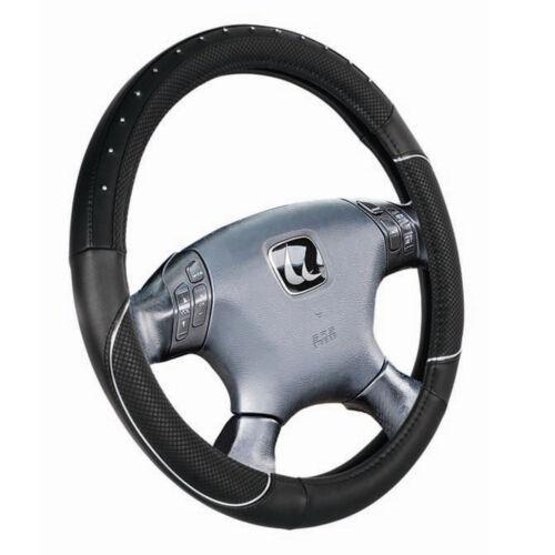 3550 Couvre Volant pour Renault Megane ø 37-39 cm en Simili Cuir Noir Strass