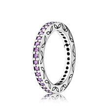 Brand New Genuine Pandora Purple Thin Eternity Ring 190618CFP - Size 52