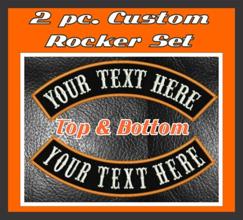 """MC ROCKER PATCHES 13/"""" CUSTOM EMBROIDERED 2 PIECE SET TOP AND BOTTOM MOTORCYCLE"""
