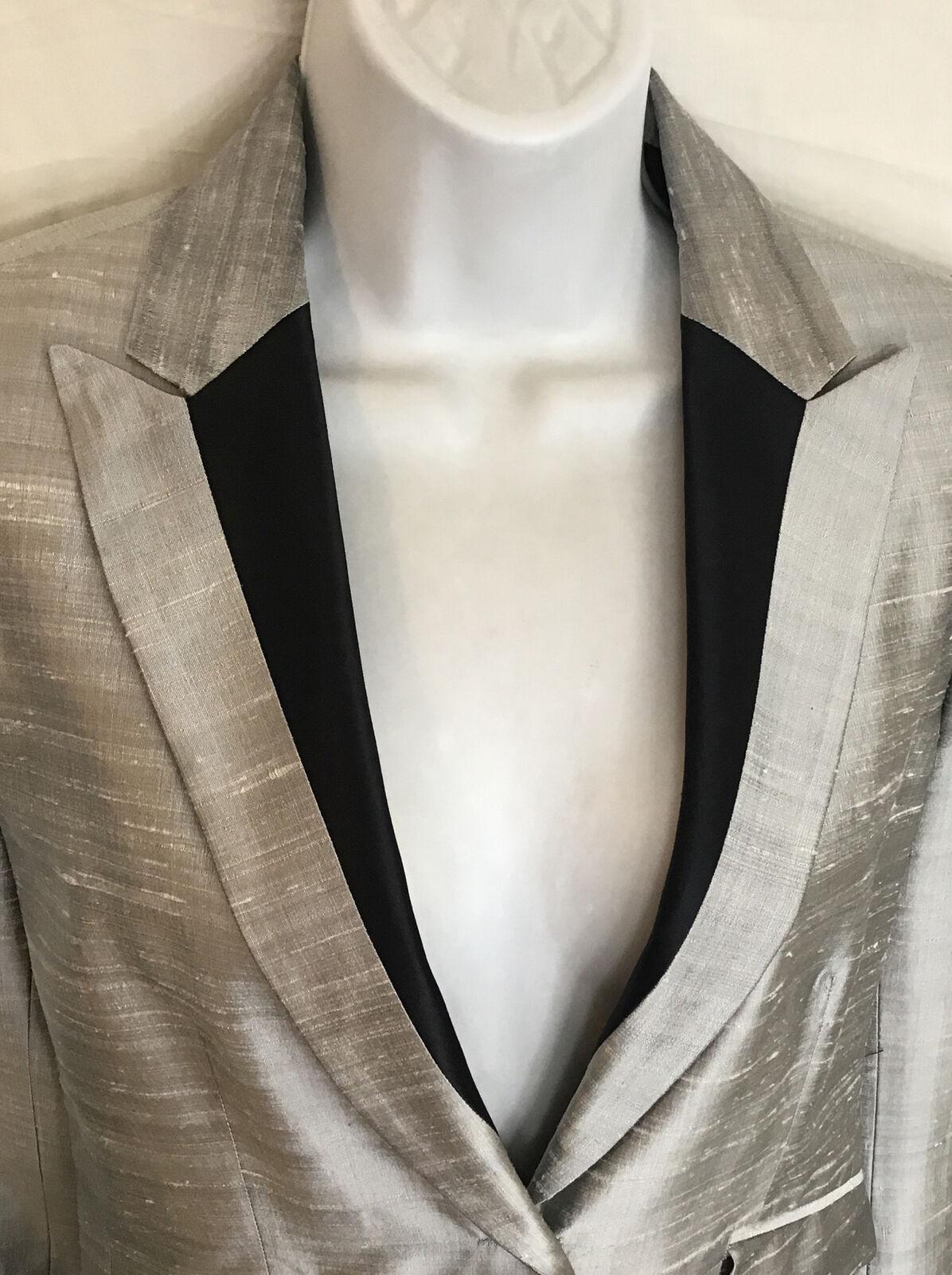 rag and bone  Suit Jacket silver gray silk peak s… - image 8
