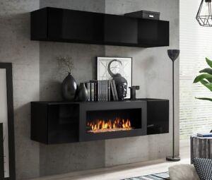 wohnwand schrankwand h ngewand anbauwand mit bio kamin. Black Bedroom Furniture Sets. Home Design Ideas