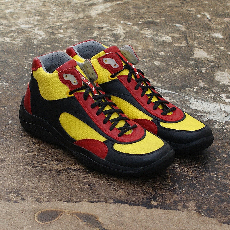 Da Uomo Prada Americas Cup Linea Rossa scarpe da ginnastica Alte Taglia 5.5 NUOVO CON SCATOLA VINTAGE
