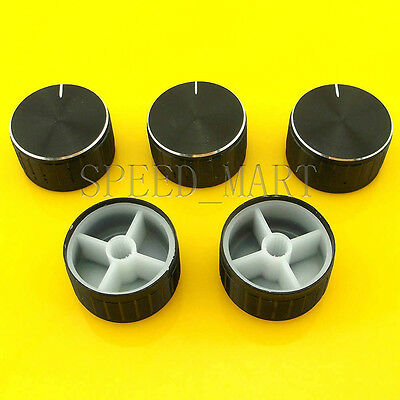 5 PCS Black Knob 30*17mm Cap Rotary Switch CD Player Volume Pointer Hole 6mm