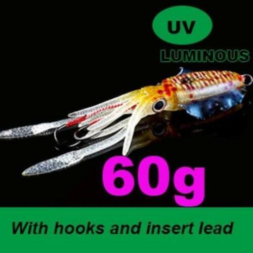UV Squid Sea Bait Fishing Soft Lures 20g 80g 100g 120g 150g 15cm 20cm Luminous