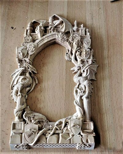 Frame Dragon castle relief 3d model relief for cnc in STL file format