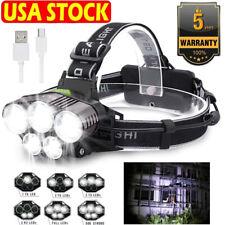 100000LM 5X T6 LED Headlamp Rechargeable Headlight Light Flashlight Head Torch *