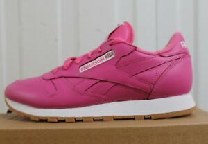 9868199f109 REEBOK CLASSIC LEATHER PINK GUM WOMEN S JUNIORS ORIGINAL TRAINERS ...