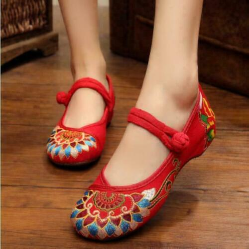 Details about  /Retro Womens Ethnic Canvas Embroidery Flats Hidden Heels Casual Comfort Shoes