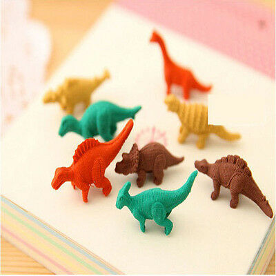 7Pcs//1Egg Mini Kids Office Stationery Gifts Dinosaurs  Rubber Pencil Eraser