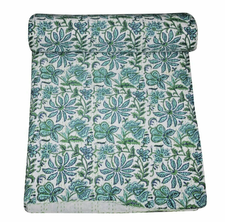 Indian Vintage Flower Print Handmade Kantha Quilt Bedspread Queen Throw Decor AU