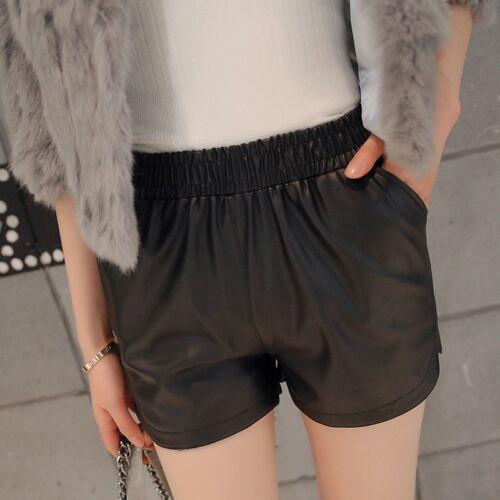 Womens Faux Leather Shorts Wet Look Biker Hot Pants Elasticated Waist Trousers