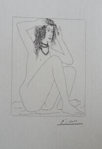 Pablo Picasso (Según ) : Modelo Desnudo Sentado - Litografía Firmada #1200ex