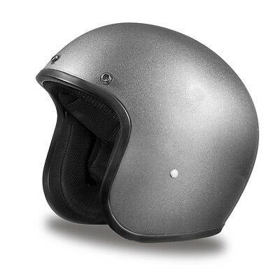 Dayton Custom Low Profile Silver Metallic Bobber open face biker novelty helmet
