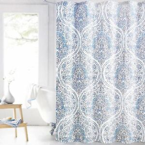 Image Is Loading ENVOGUE Moroccan Floral Fabric Shower Curtain WHITE TEAL