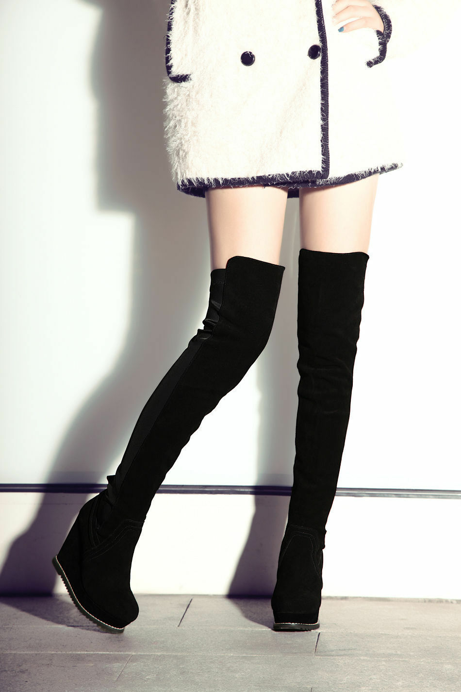 Womens Platform Suede Wedges Heel Over the Knee Boots Suede Thigh High shoes