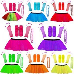 Conjunto-De-Fantasia-Vestido-Tutu-Neon-80s-Guantes-Calentadores-y-granos-Gallina-Fiesta-Disfraz
