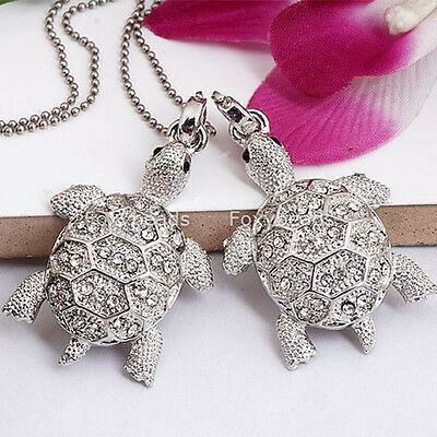 1PC Silver Plated Cute Crystal Turtle Tortoise Bead Pendant Fit Necklace Gift
