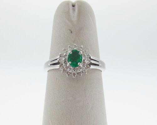 Fine Estate Green Emerald Diamonds Solid Platinum Pt950 Halo Ring Free Sizing
