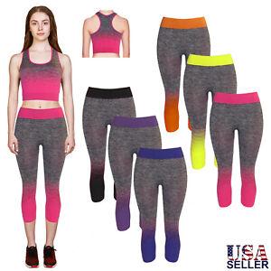 women's cropped tank top  capri yoga pants 2pc set for