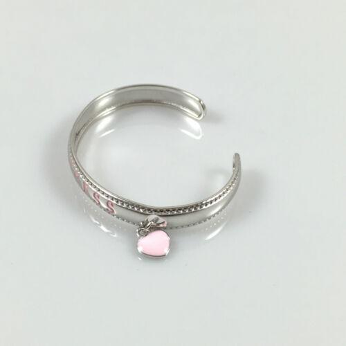 "925 Sterling Silver Baby Christening Princess Bangle Love Heart Charm 6.03gr 5/"""
