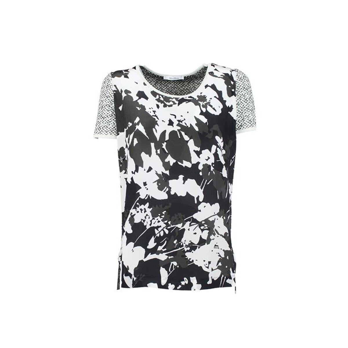 MAX MARA Woherren Vettura Ivory Floral Print Silk Front T-Shirt  NWT