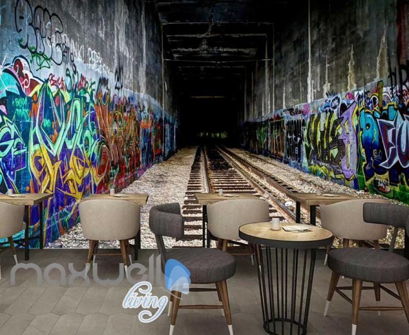 3D Graffiti Tunnel Abstract Letters Art Wall Murals Wallpaper Decals Print Decor